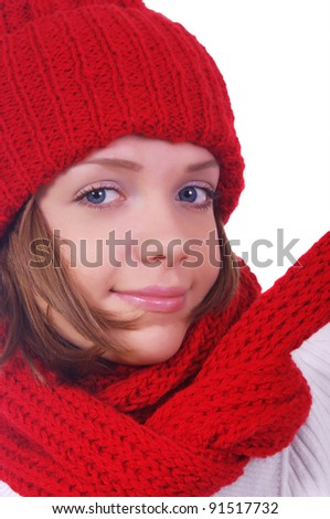 girl with hat and scarf over white