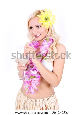 girl with Hawaiian accessories isolated on white background, beautiful blonde