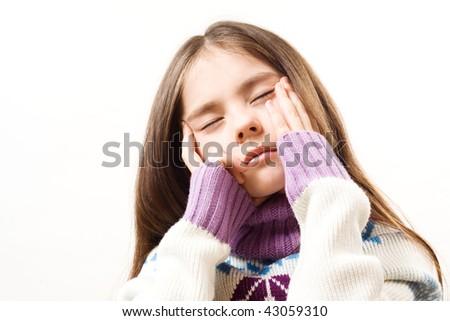 girl with headache - stock photo