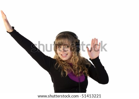 Girl with headphones dancing on a white background - stock photo