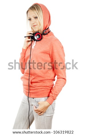 girl with headphones isolated - stock photo