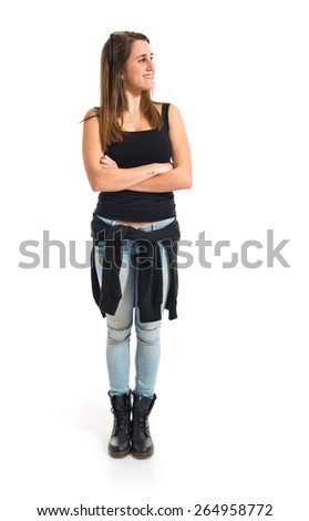 Girl with her arms crossed  - stock photo