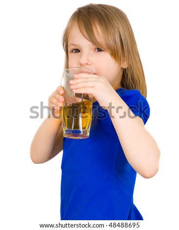 girl with juice isolated on white