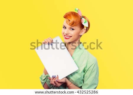 Girl with laptop. Closeup red head beautiful young woman pretty smiling pinup girl green button shirt holding pc computer smiling looking at you camera retro vintage hairstyle. Internet problem solved - stock photo