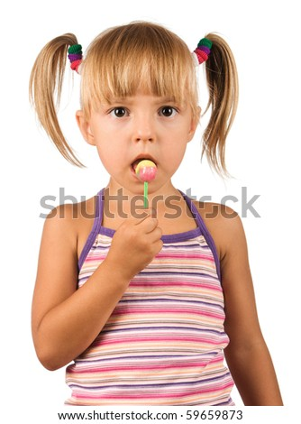 Girl with lollipop. Beautiful caucasian model. Isolated on white background.