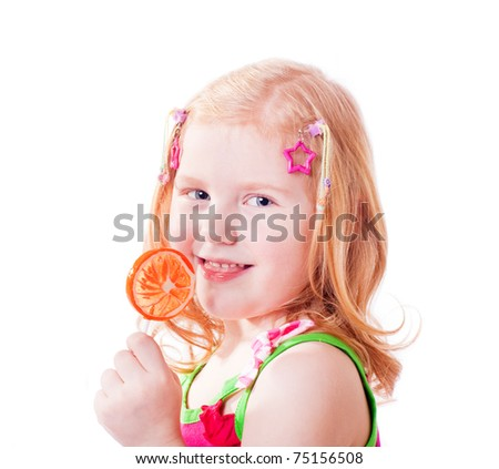 girl with lollipop isolated on white - stock photo