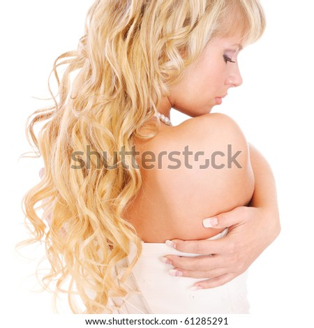 Girl with long fair hair from back, isolated on white background. - stock photo