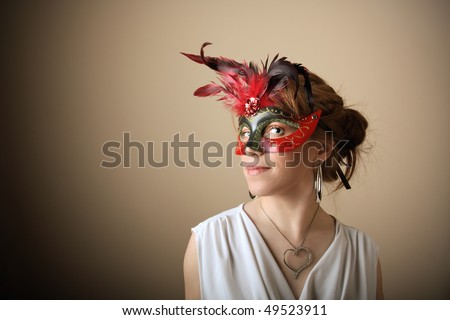 Girl with mask portrait. Concept of fashion, beauty, makeup, imagine