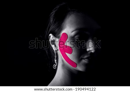 girl with medical taping - stock photo