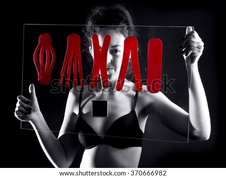 girl with  medical taping on glass board - stock photo