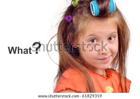 girl with messy hair, thinking what to choose for hair care