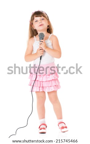 Girl with microphone - stock photo