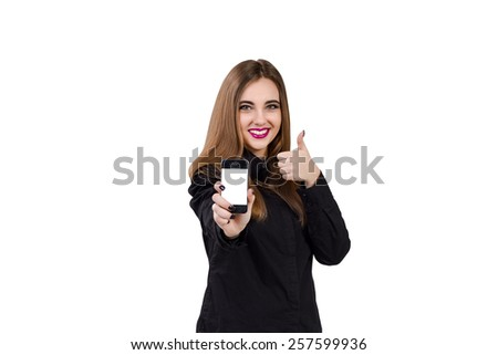 Girl with mobile phone in hand. Business style business woman theme. Phone with blank screen. Isolated on white background. - stock photo