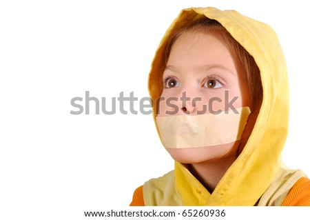 Girl with mouth sealed with the hope of looking into the distance on a white background