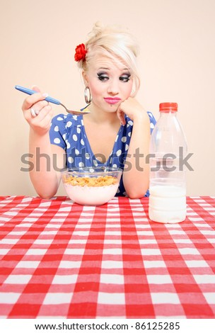 Girl with no appetite - stock photo