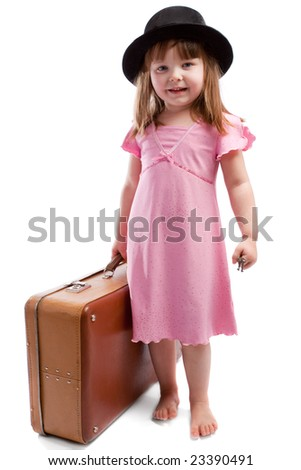 Girl with old shabby suitcase - stock photo