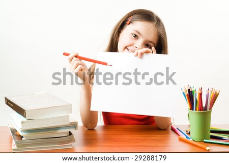 Girl with paper - stock photo