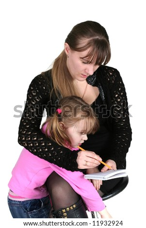 girl with pencil and notebook, on white background, and child