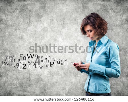 Girl with phone and letters flying forward - stock photo