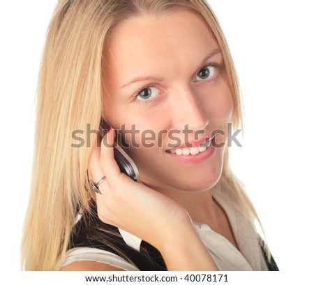 girl with phone on a white background