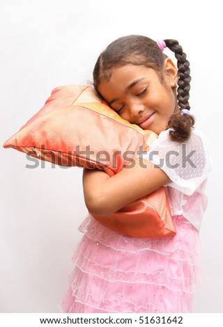 girl with pillow - stock photo