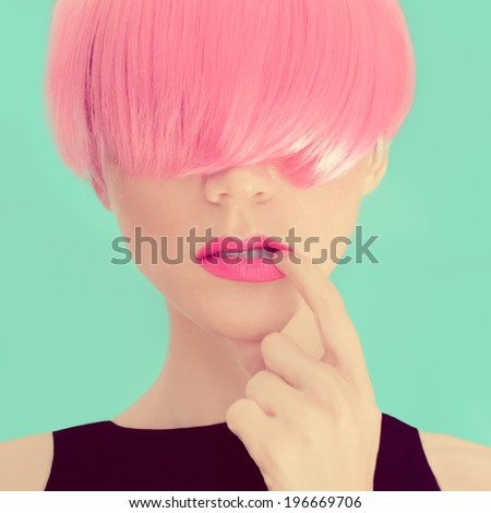 Girl with pink hair. Fashionable Trend - stock photo