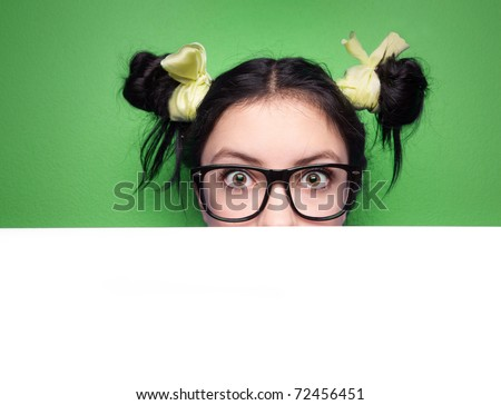 Girl with presentation board