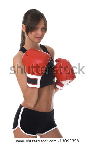 Girl with red boxing gloves