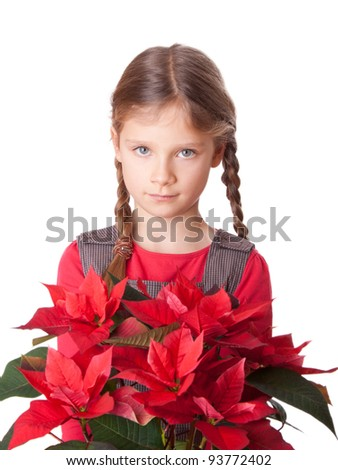 Girl with red flowers/flower girl/red flowers