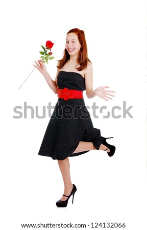 Girl with red rose. White background
