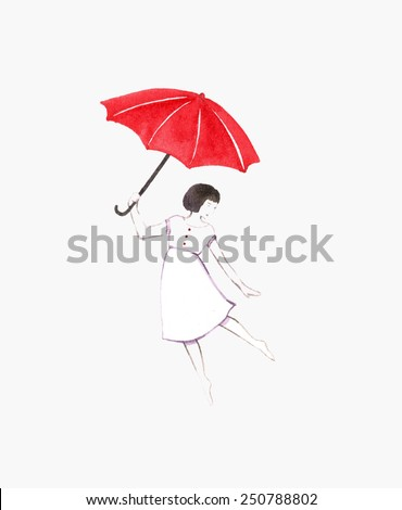 Girl with red umbrella. Watercolor illustration with girl and umbrella. Happy birthday background. Beautiful mother's day greeting card. Hand paint watercolor greeting card with girl. - stock photo