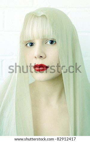 Girl with scarf - stock photo
