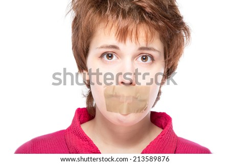 girl with self-adhesive tape over her mouth