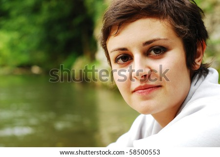 girl with short haircut - stock photo