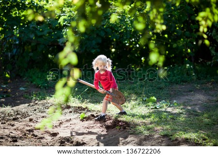 girl with shovel - stock photo