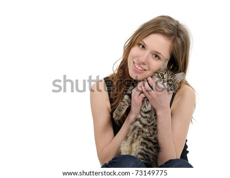 girl with small kitten isolated on white background - stock photo