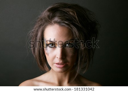 girl with smeared makeup