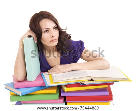 Girl with stack color book . Isolated.