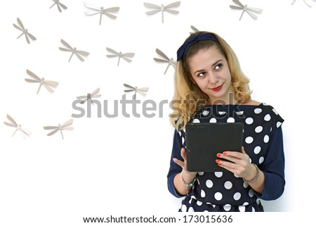 Girl with tablet - stock photo