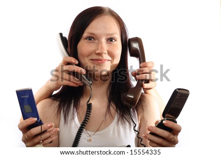 girl with telephone on white background