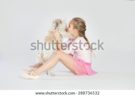 Girl with the dog - stock photo