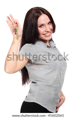 Girl with the key. Isolated over white - stock photo