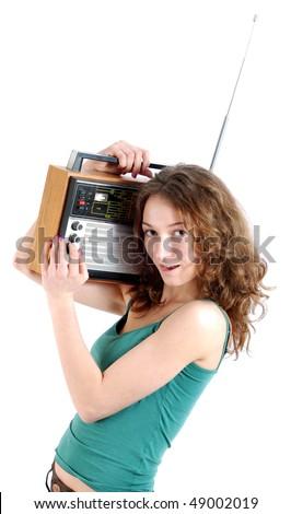 Girl with the radio. - stock photo