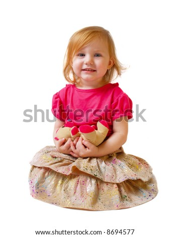 girl with toy  isolated on white - stock photo