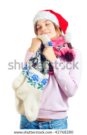 girl with warm socks in the hands - stock photo
