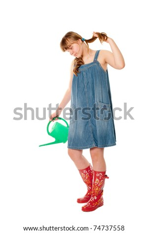 Girl with watering-can - stock photo