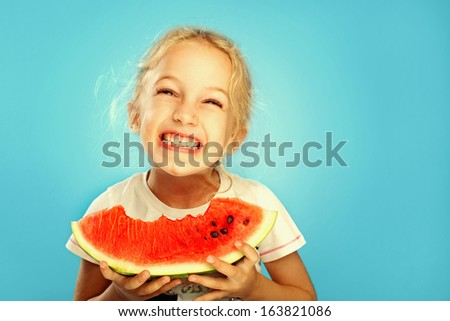 Girl with watermelon - stock photo