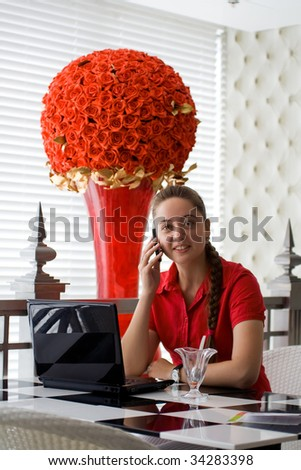 Girl working in cafe