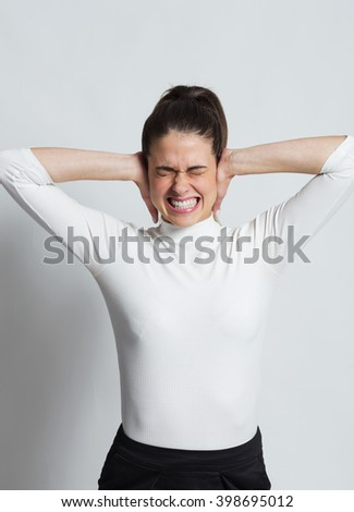 Girl wrapping their ears, white background