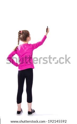 girl writes on a white background - stock photo